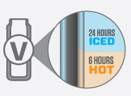 24 hours Iced. 6 hours Hot